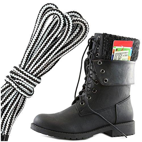 Dailyshoes Donna Militare Allacciatura Fibbia Stivali Da Combattimento Caviglia Metà Polpaccio Ripiegabile Tasca Per Carte Di Credito, Bianco Nero Pu