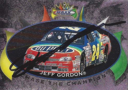 AUTOGRAPHED Jeff Gordon 1997 Upper Deck Maxx Racing CHASE THE CHAMPION (1995 Winston Cup Champ) Hendrick Motorsports Vintage Insert Signed Collectible NASCAR Trading Card with COA and Toploader