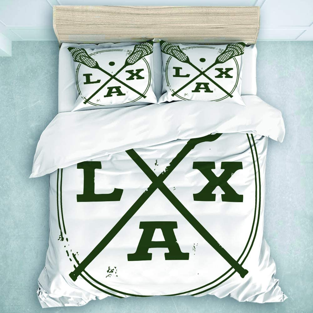 CANCAKA Decor Duvet Cover Set,Lacrosse LAX Vintage Style Stamp,Decorative 3 Piece Bedding Set with 2 Pillow Shams,Full/Queen Size