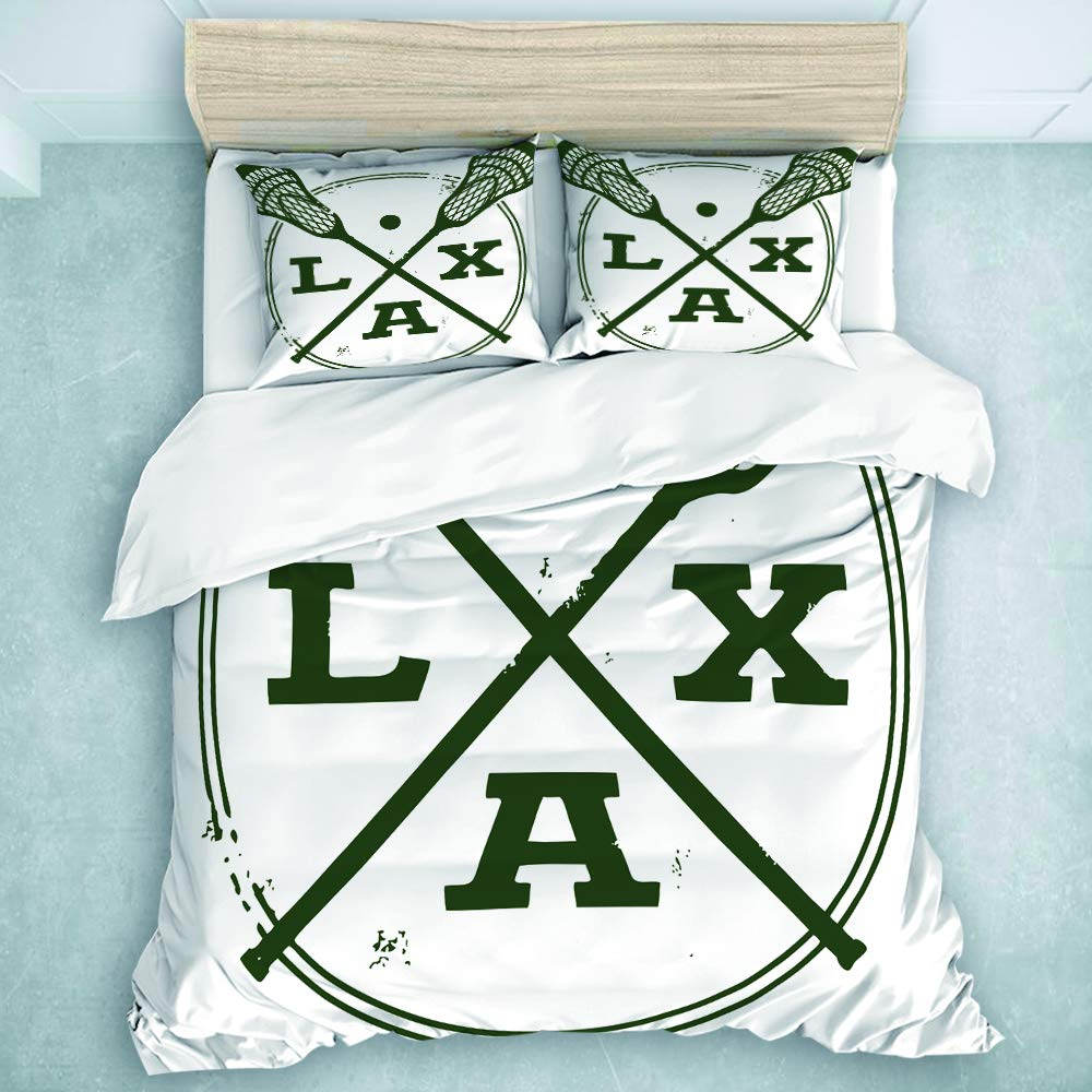 MOASTORY 3 Piece Duvet Cover Set, Lacrosse Lax Vintage Style Stamp, for Children Teens Adults, Queen Size