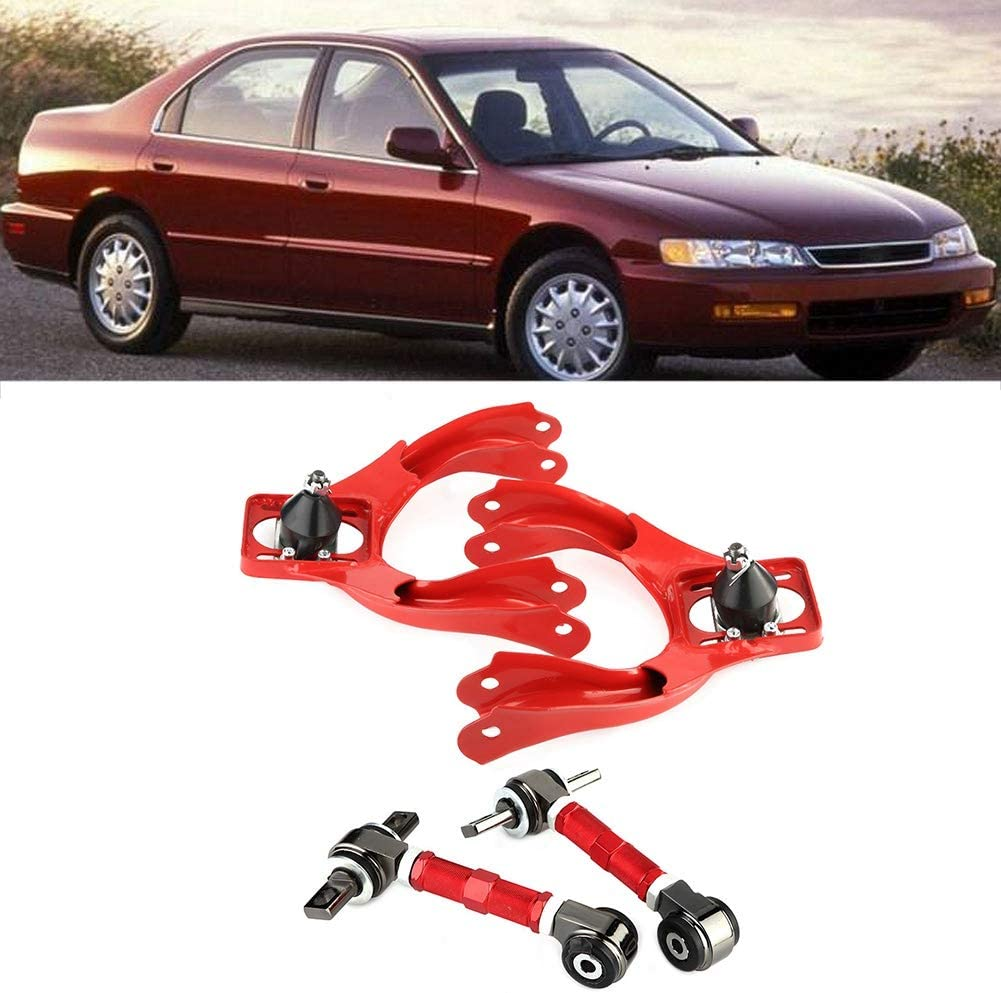 Red Front+Rear Camber Arm Control Suspension Alloy Steel Compatible With Honda Civic 1992-1995,for Honda Del Sol 1993-1997,for Acura Integra 1994-2001