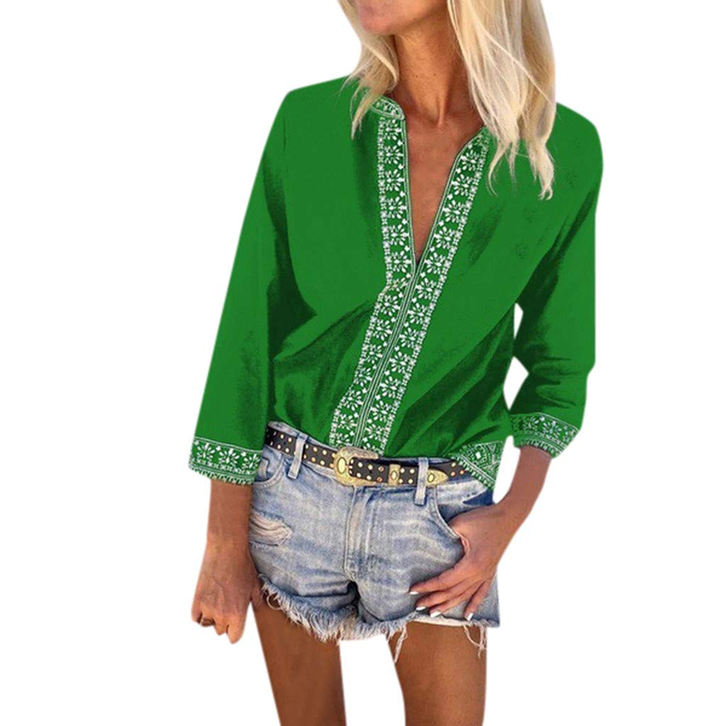 Womens V Neck Mesh Panel Blouse 3//4 Bell Sleeve Loose Top Shirt