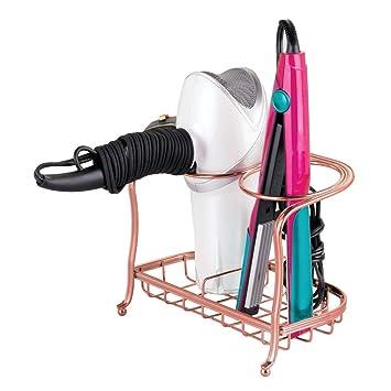mDesign Soporte para secador de pelo o rizador - Cesta de rejilla para productos de peluquería - Soporte para plancha de pelo y cepillos fabricado con metal ...