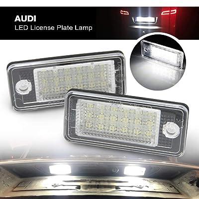 Audi Led License Plate Light - Nslumo LED Rear Tag Lamp Car Number Light for Audi A3 S3 A4 S4 A6 C6 S6 A8 S8(d3) Q7 Rs4 Rs6 18smd 2pcs/set with Canbus: Automotive