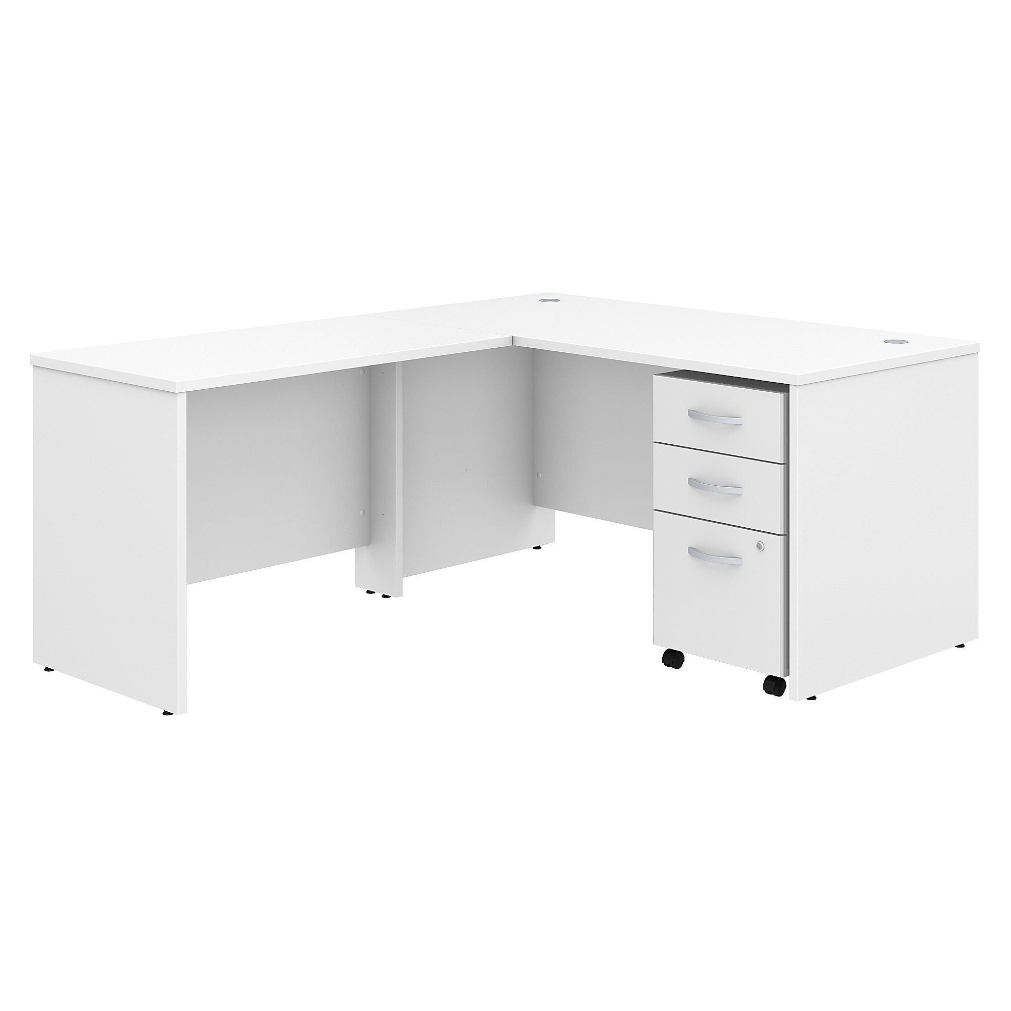 Studio C 60W x 30D L Shaped Desk with Mobile File Cabinet and 42W Return in White