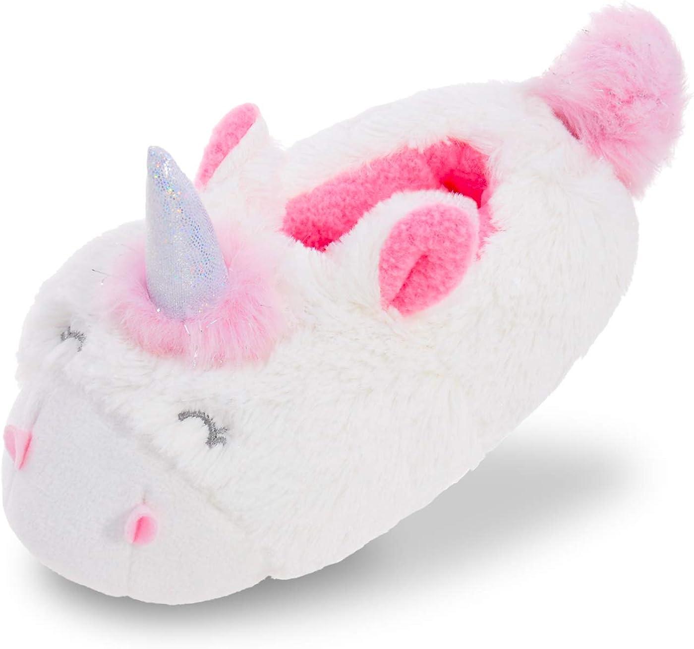 Amazon Com Mixin Girls Unicorn Slipper For Toddler Little Kids Fluffy Bedroom Slippers Anti Slip House Shoes Indoor White 6 7 M Shoes
