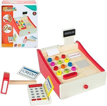 WOOMAX- Caja registradora de Madera (Colorbaby 43628): Amazon.es: Juguetes y juegos