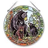 Amia Handpainted Glass Bear Family Suncatcher, 6-1/2-Inch