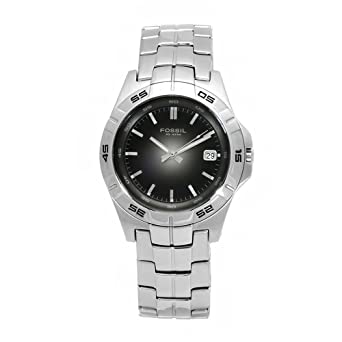 Fossil Mens AM3997 Degrade Stainless Steel Black Dial Watch