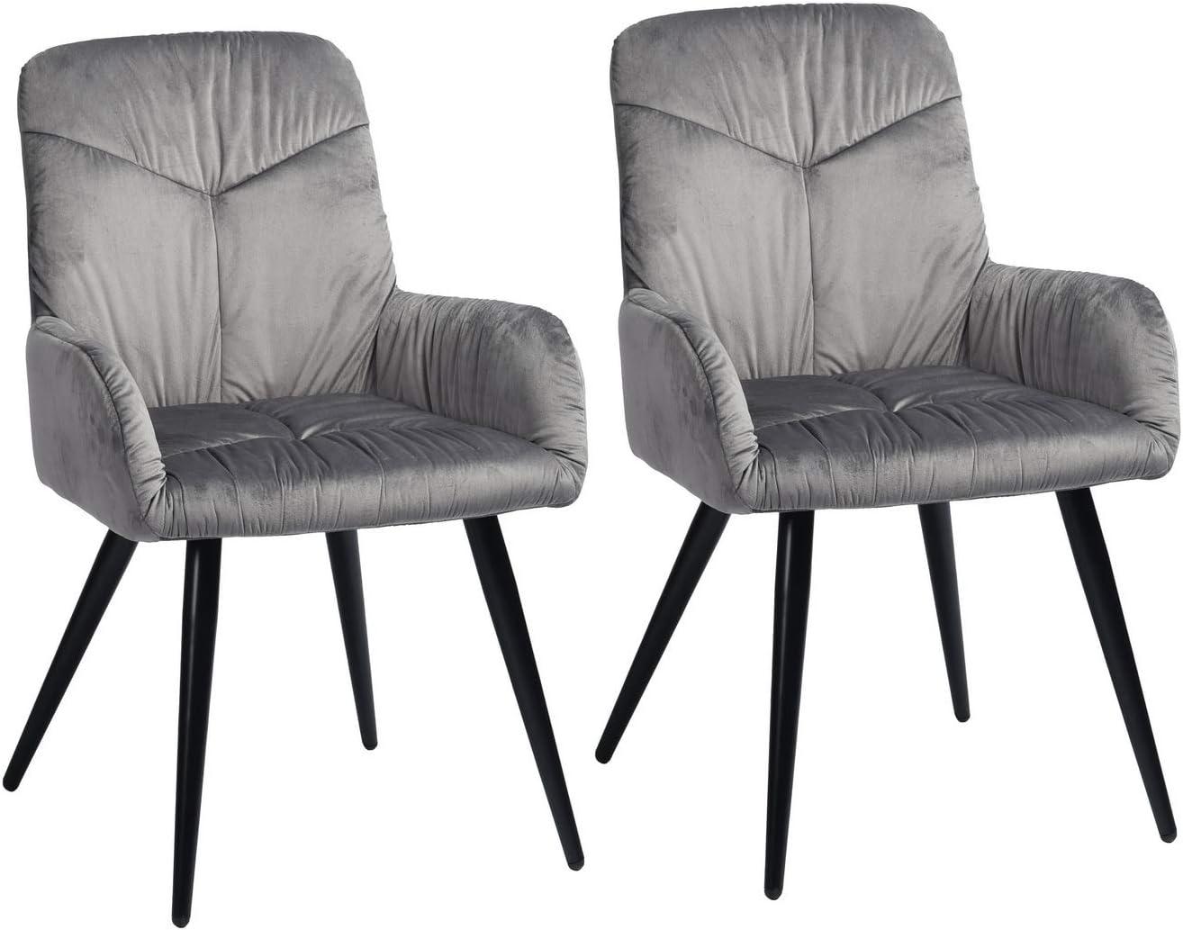 Mueble Cosy – Juego de 2 sillas de Comedor escandinavas – Sillón de Terciopelo y Patas de Metal Gris, 56 x 60 x 88,5 cm