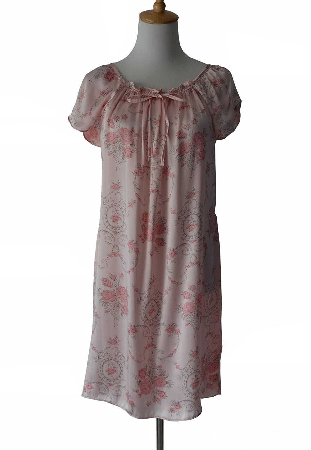 Maxfeel 100% Pure Mulberry Silk Nightgown Classic Nightwear Sleepwear