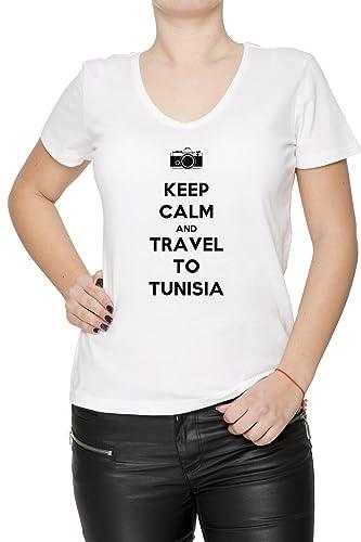 Keep Calm And Travel To Tunisia Mujer Camiseta V-Cuello Blanco Manga Corta Todos Los Tamaños Women's...