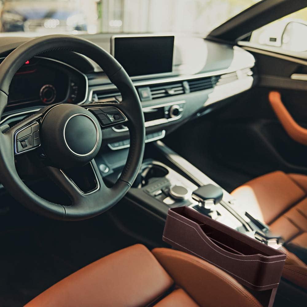 GLOBALDREAM Universal Auto Seat Gap Organisateur Bo/îte De Rangement Console C/ôt/é Poche en Cuir Si/ège Crevasse Bo/îte De Rangement Seat Gap Organisateur De Poche Marron