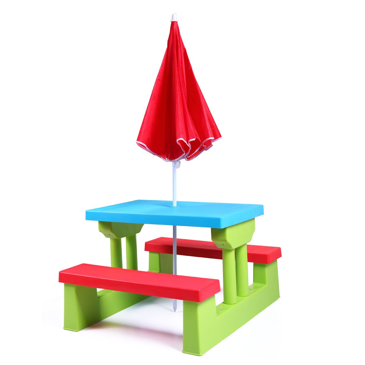 JAXPETY Kids Picnic Table with Umbrella Plastic Folding Outdoor Children Set Play Bench by JAXPETY