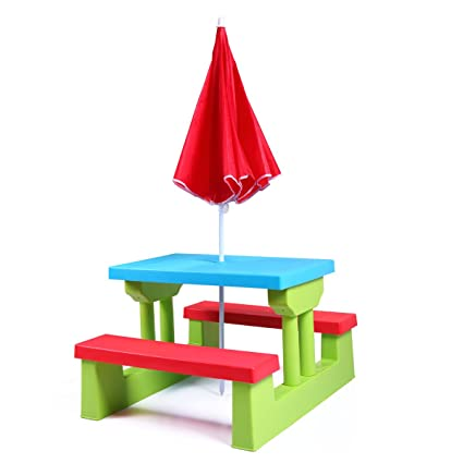 Enjoyable Jaxpety Kids Picnic Table With Umbrella Plastic Folding Outdoor Children Set Play Bench Squirreltailoven Fun Painted Chair Ideas Images Squirreltailovenorg