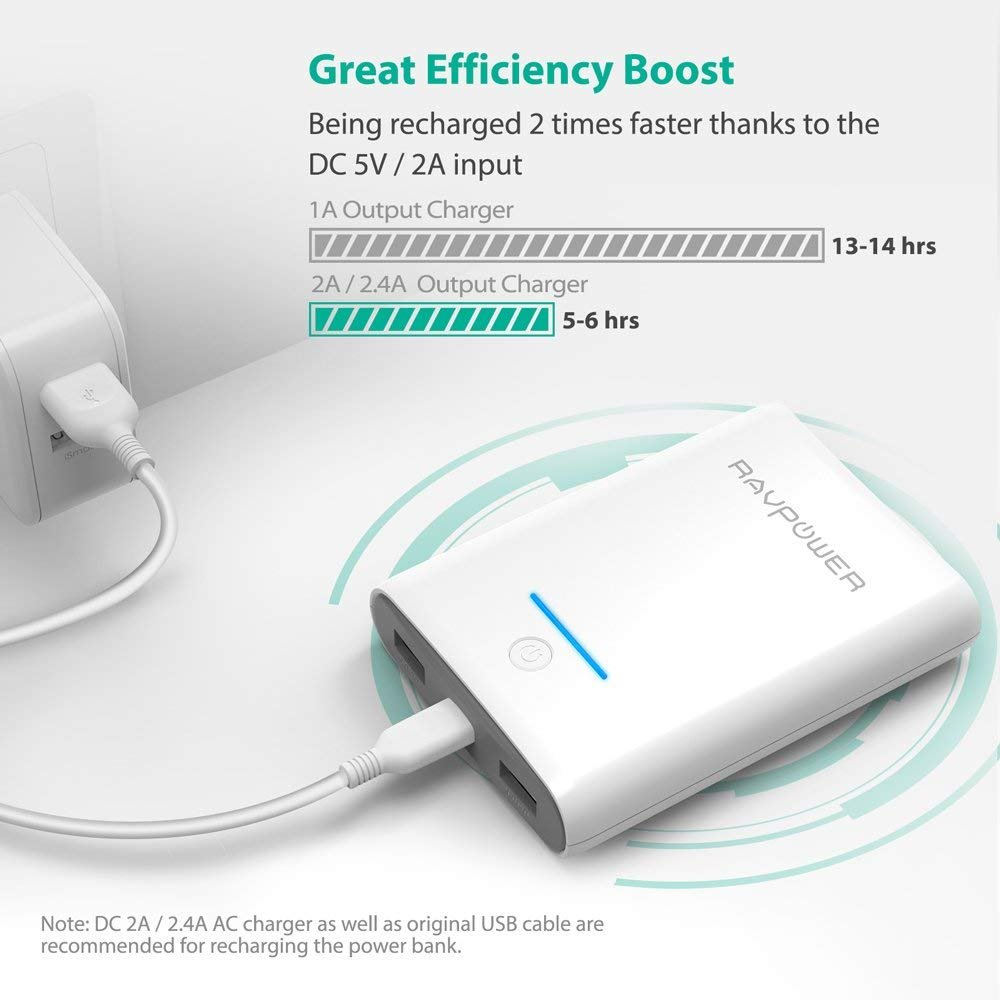 Portable Charger RAVPower 10000mAh Power Banks, Ultra-Compact 10000 Battery Pack with 3.4A Output, Dual iSmart 2.0 USB Ports, Portable Phone Charger for iPhone, iPad and More (White) by RAVPower (Image #3)