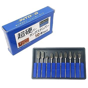【タイムセール】JINTONG 超硬バー タングステンバー リューター ビット ドリル カッター 10本セット (2.35mm軸 刃幅6mm)
