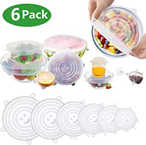 Eyshp Silicone Stretch Lids, Insta Lids, Instalids, Reusable Stretch Lids With Hanging Holes Fit Round & Square Bowls, Jars 6-Pack of Various Sizes Silicone Bowl Covers Keeping Food Fresh Freezer Safe