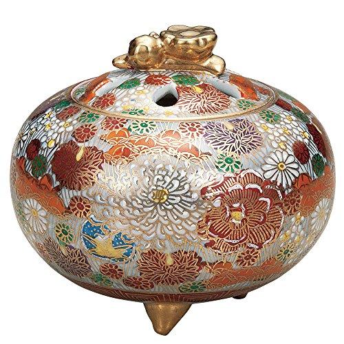 Japanese Kutani Yaki Porcelain Incense Burners Gold Flower by Kutani