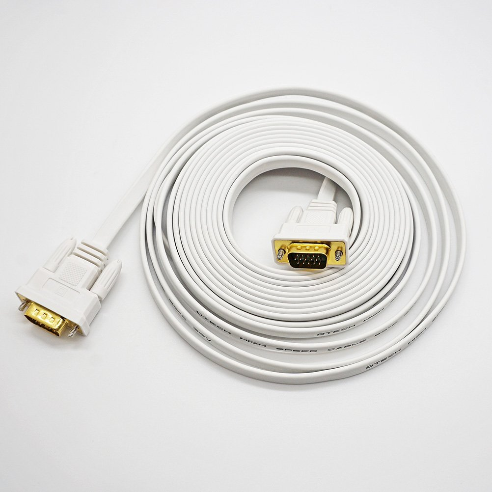 DTECH 50 Feet VGA Cable Male to Male Slim Flexible Wire for Computer Monitor Projector (White)