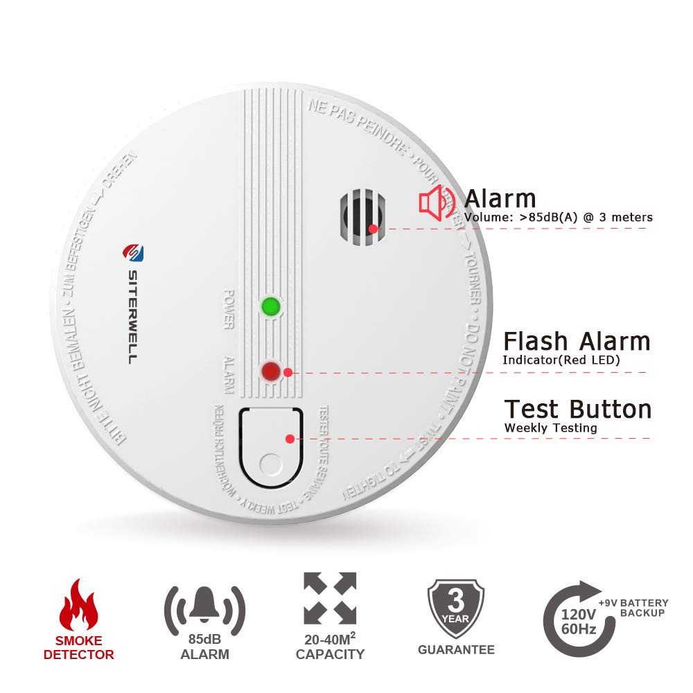 SITERWELL Hardwired Smoke Alarm 120V AC Wire-in Photoelectric Smoke Detectors and Fire Alarm with 9V Battery Backup (GS518)