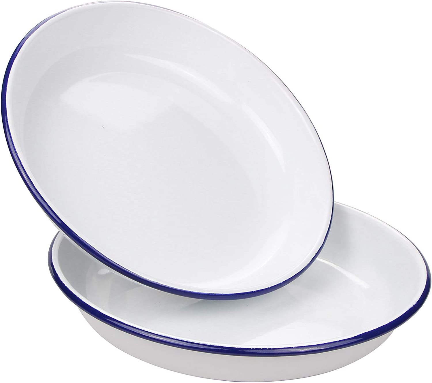 Webake 9.5 Inch Enamel Plates, 2 Pack Salad Pasta Bowls Enamelware Dinner Plates White Body with Blue Rim, Serving Trays for Dinner, Outdoor, Picnic, BBQ, Butter