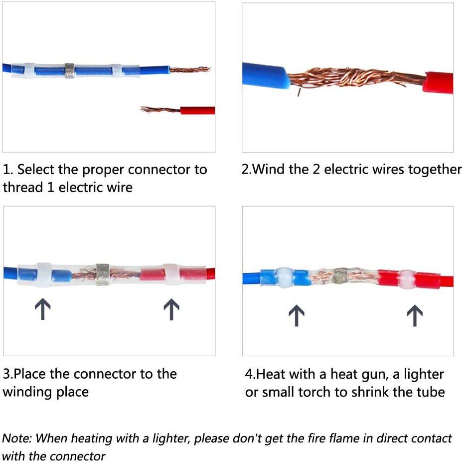 Connettore per Condotti Termorestringenti Terminali per Conduttori Elettrici Isolati Impermeabili per Automobili Marine Haudang 50PZ Connettori per Saldatura Un Saldare 22-18 Awg,Rosso