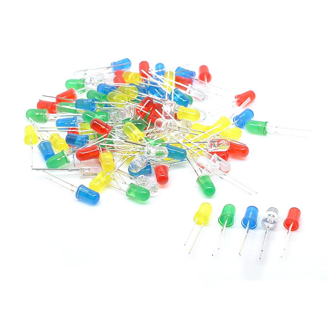 willwin 100pcs 3 mm varios colores LED diodos emisores de luz DC 3 V 20 mA 5 colores Resistencia Kit 4330585583