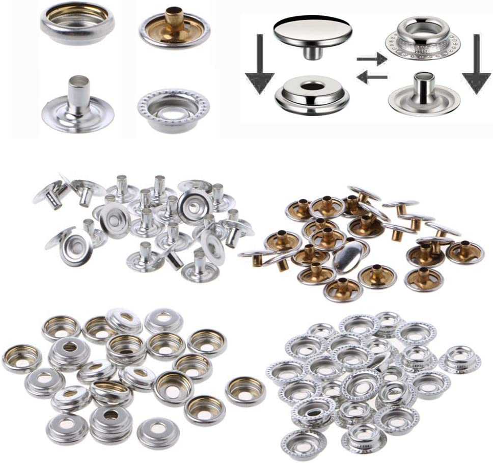 Snap Fastener Kit,Snaps Button Tool Stainless Steel for Marine Boat Canvas Clothing Leather /& Jackets,25Set