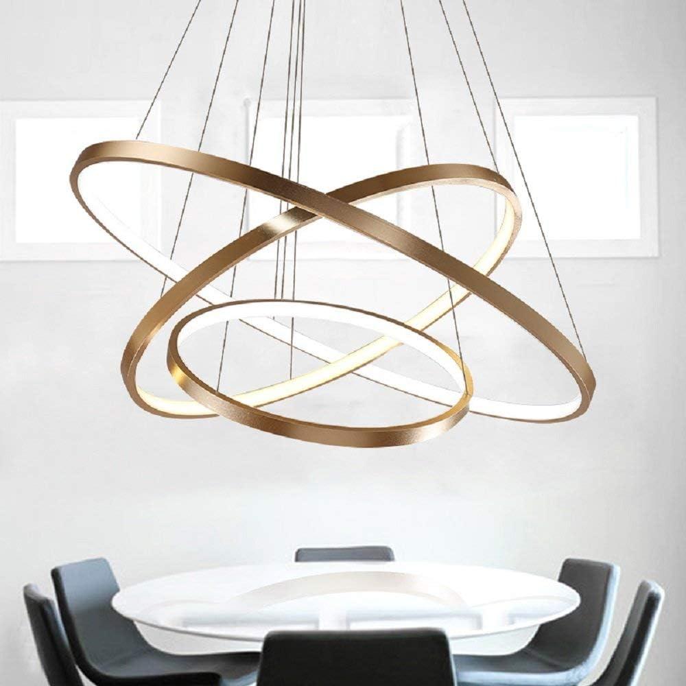 114W LED Dimmbar Pendelleuchte 3-Ring Gold Aluminium Acryl Kronleuchter Höhenverstellbar Rund Hängeleuchte Galerie Wendeltreppe Deckenlampe Esszimmer Büro Eßtisch, 40 60 80CM Gold