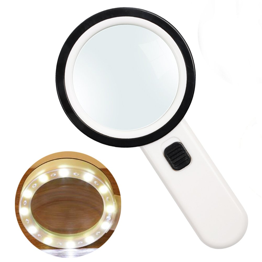 Magnifying Glass,30X High Power Handheld Magnifier with 12 LED Lights,Jumbo Double Lens Illuminated Magnifier Glasses for Reading,Inspection,Exploring,Jewelry,Hobbies and More