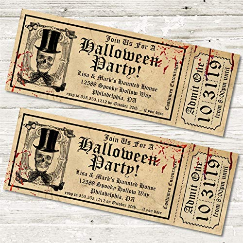 (Halloween Party Ticket Invitations, Realistic Halloween Birthday Party Ticket Invitations, Halloween Party Invitations)