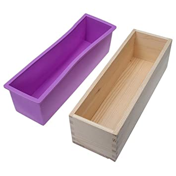 Amazoncom Wewin Rectangular Wooden Soap Mold With Silicone Liner