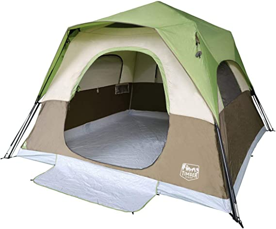Timber Ridge Camping Tent 6 Person Instant Tent 10x10 Feet Portable Cabin Tent with Rainfly for Family Camping