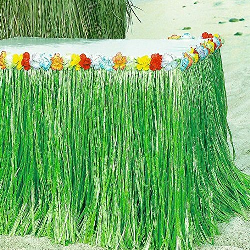 Sc0nni Hawaiian Luau Hibiscus Green & Colorful Silk Faux Flowers Table Hula Grass Skirt for Party Decoration, Events, Birthdays, Celebration, 9' x 29'' by Sc0nni (Image #1)