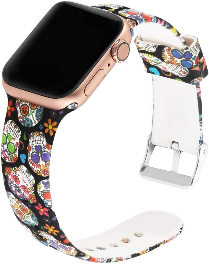 Suppeak Band Compatible with Apple Watch Series 4 Series 3 Series 2 Series 1 42mm 44mm, Women Men Soft Silicone Sport Wristband, Pattern Printed Skull