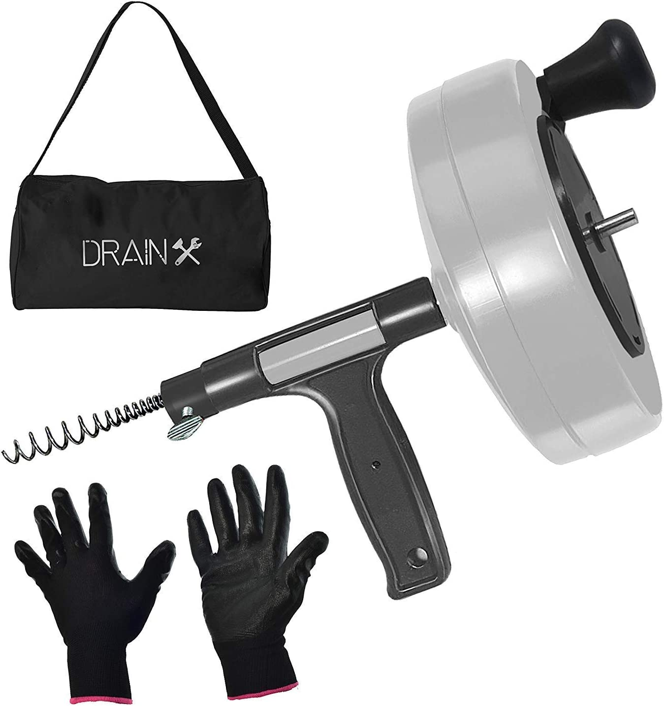 Drainx Power Pro 50-FT Steel Drum Auger Plumbing Snake with Drill Adapter | Heavy Duty Drain Snake Cable with Work Gloves and Storage Bag- White.