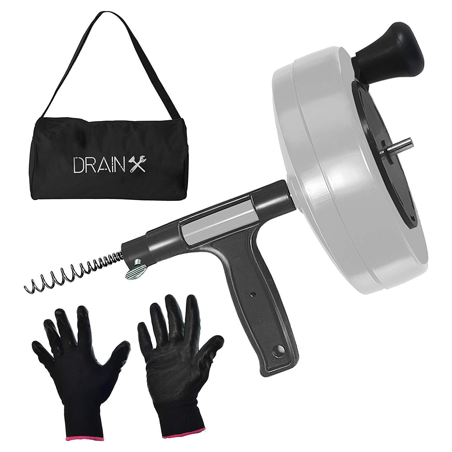 Drainx Power Pro 50-FT Steel Drum Auger Plumbing Snake with Drill Adapter | Heavy Duty Drain Snake Cable with Work Gloves and Storage Bag- White. by DrainX