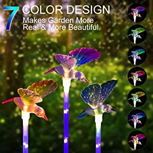 K-MAN Solar Lights Outdoor Decorative–Solar Garden Lights,Upgraded 7-Color Changing LED Solar Hummingbird Stake Lights for Patio,Backyard,Garden(Purple,Green &Blue,3 Pack)