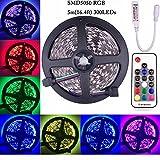 Kabenjee RGB LED Strip Light,SMD5050 RGB 4pin Tape Light,300LEDs DC12V with 17Key RF Wireless Controller,16.4ft/5M 60LED/M LED Ribbon/Light Strip