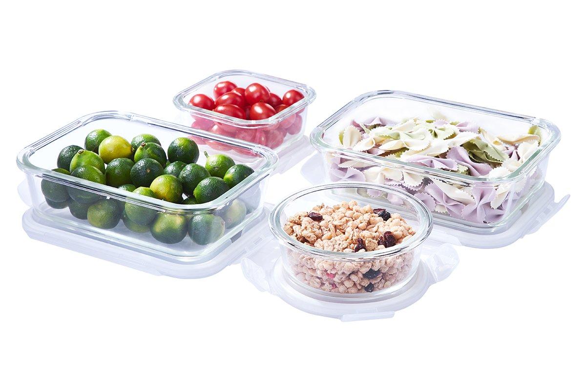 Set di 4 contenitori in vetro con coperchio forno microonde cucina Prep pasto lunch box a tenuta ermetica EASYLOCK