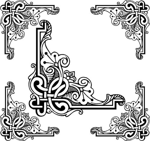 4 Corner Images - Black & White Celtic Knot - Vinyl Stained Glass Film, Static Cling Window Decal