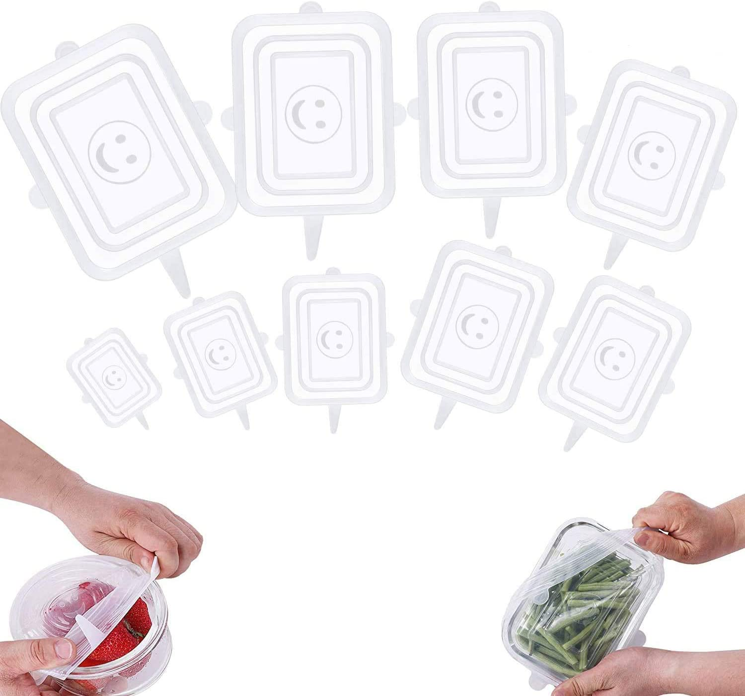 BOSERI Silicone Stretch Lids,9 Pack Reusable and Expandable Lids 9 Clear Rectangle, Silicone Covers for Fresh Food - Keep Food Fresh, Stretch for Container, Bowl, Cups, Cans