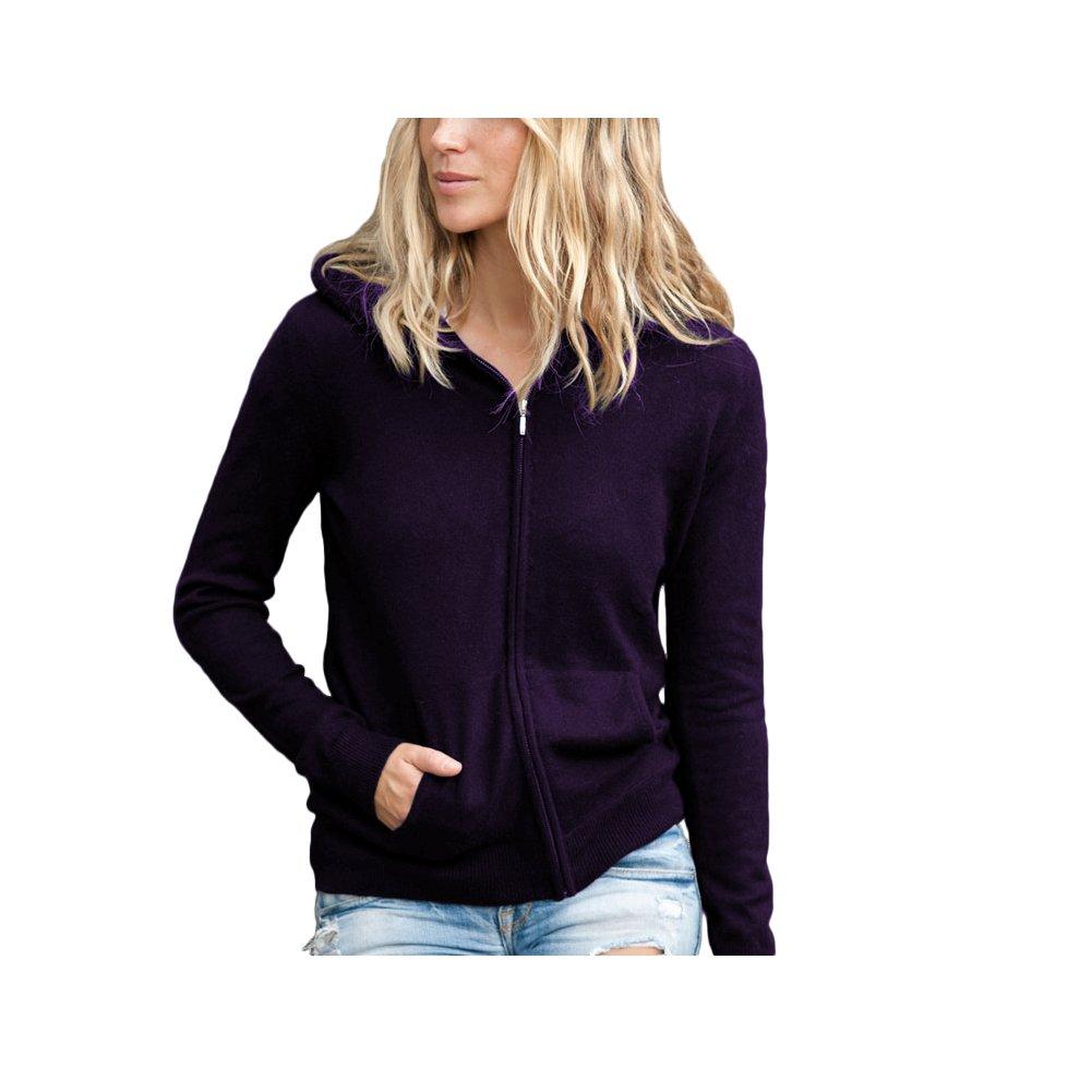 Parisbonbon Women's 100% Cashmere Hooded Cardigan Color Deep Violet Size M