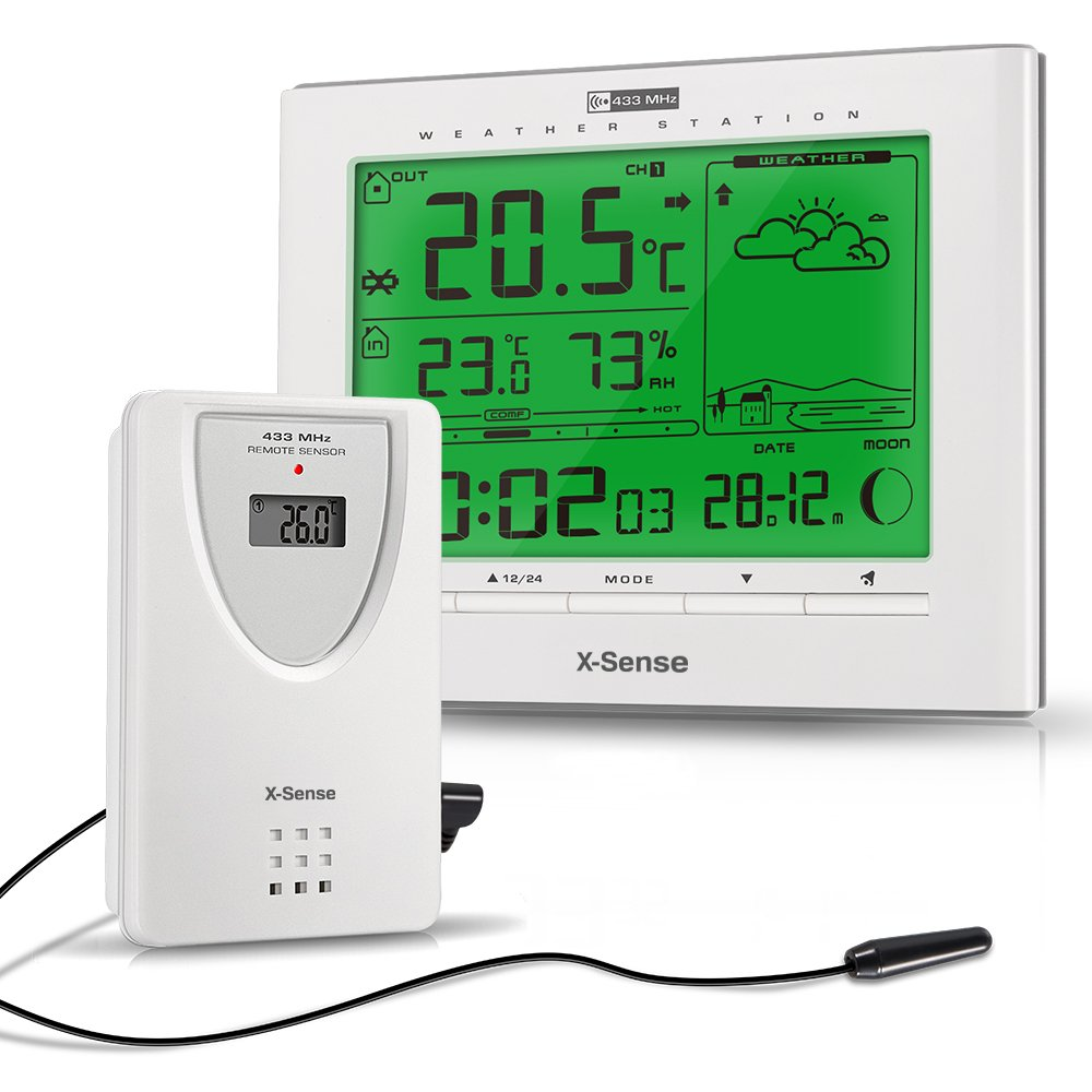 X-Sense AG-21 Wireless Indoor/Outdoor Weather Station with ...