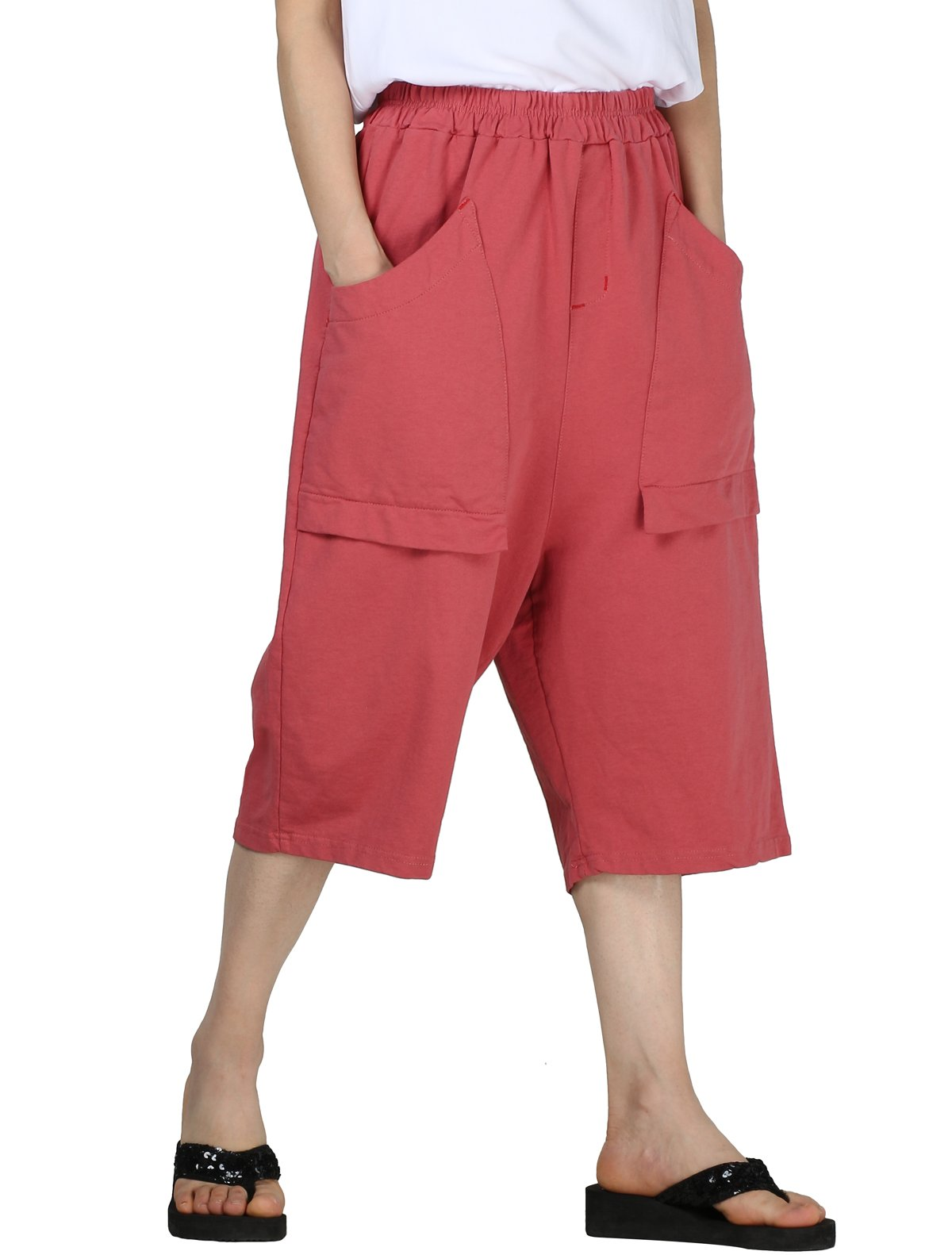 Mordenmiss Women's New Cotton Lounge Pull On Capri Pants with Pockets L Red