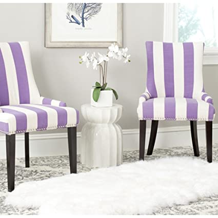 Superieur Safavieh Mercer Collection Lester Dining Chair, Lavender And White Stripe,  Set Of 2