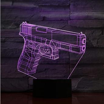 Led 7 Cambio De Color 3D Visual Lámpara De Mesa Luces Domésticas ...
