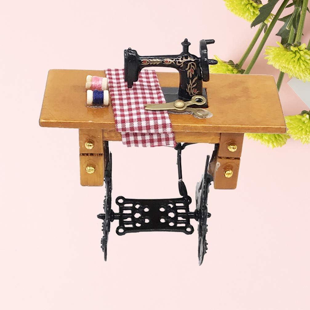 NUOBESTY mini máquina de coser con hilo para muebles de madera en ...