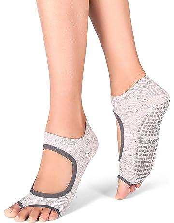 Fitness Hivexagon Calcetines de Yoga Antideslizantes de Cinco Dedos para Baile Ballet Pilates Baile 2 Pares Entrenamiento